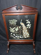 Regency Style Antique Victorian Inlaid Mahogany Firescreen Peacock Tapestry