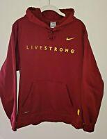 Nike Livestrong Fit-Therma Hoodie Sweatshirt - Maroon Red / Yellow - Size Medium