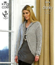 KING COLE GALAXY LADIES EASY KNIT CHUNKY GILET CARDIGAN JACKET KNITTING PATTERN