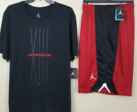 NIKE JORDAN XIII RETRO 13 BRED OUTFIT SHIRT + SHORTS BLACK RED NEW (SIZE 3XL)
