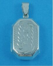 """Sterling silver Ladies Large Rectangle Locket On A 18 or 20"""" Silver Chain"""