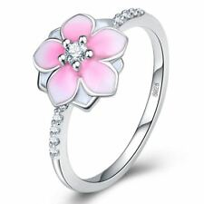 Silver Delicate Cherry Pink Flower Lovers Ring Blossom Peach