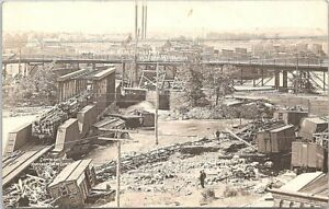 Wausau Wisconsin RPPC Flood Wreckage at Railroad Yards early 1900s