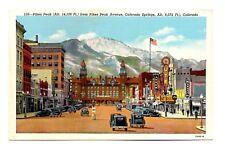 Pikes Peak Avenue Colorado Springs Postcard Vintage Chief Sign Hotel Ute Linen
