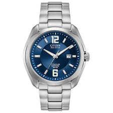 Citizen BM7080-54L Eco Drive Titanium Blue Dial Date Men's Watch MSRP $325