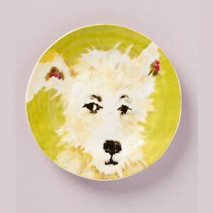 "ANTHROPOLOGIE DESSERT Plate 8.25"" Furry Friends CAROLE AKINS Dog CHIPPER NEW"