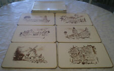 VINTAGE BOXED SET OF 6 JASON TABLE/PLACEMATS 'PERTH' SKETCHED SCENES