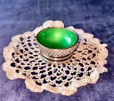 More details for ❇️1933-44❇️georg jensen silver & green enamel pyramid salt dish/pot by h nielsen