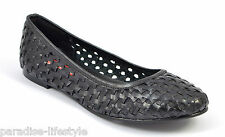Womens Ladies Black Purple Woven Leather Pumps Shoes Ballerina Loafers Toe Heels
