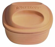 Romertopf by Reston Lloyd Natural Glazed Clay Cooker, Square Casserole, 2-Quart