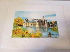 Vintage Possibly Antique Castle on Water Architectural Seascape Colored Print