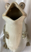 Vintage Ceramic Frog Vase/Planter 8.5 Inches Tall