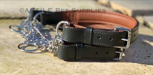 Half Check Choke Adjustable Leather Dog Collar With Chain 1 inch Wide Padded
