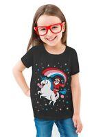Santa Riding Unicorn Rainbow Ugly Christmas Toddler/Kids Girls' Fitted T-Shirt