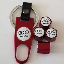 AUDI RED DUST VALVE CAPS & RED SPANNER/KEYCHAIN FOR ALL MODELS ALL COLOURS BOXED