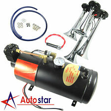 150 PSI 3 Liter 12V Air Compressor With 4 Trumpet Chrome Train Air Horn Truck