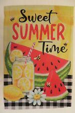 """""""Sweet Summer Time"""" Watermelon Lemonade, Black & White Checks Plaid Garden flag"""