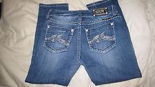 Miss Me denim jean boyfriend capris pant Sz 3/4 27 inseam 25 bling color DK 29