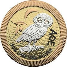 Niue 2019 $2 Athenian Owl 4 Metals 1oz Silver Coin with Swarovski stones