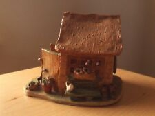 """Vintage Pottery Clay Garden Shed Sculpture. Roughly 5 1/4""""H, 6 1/4""""L, 5 1/4""""W ."""