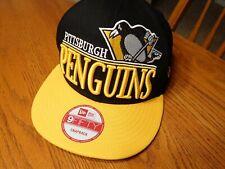 New Era 9FIFTY Pittsburg Penguins Spellout 3D Snapback Cap Hat NWOT