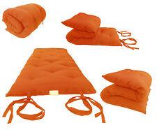Traditional Japanese Floor Rolling Futon Mattresses, 27Wx80L Cotton Mats Orange