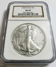 1988 1 Oz Silver $1 EAGLE NGC MS69 Early Coin, Brown Label.