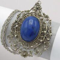 Vtg Art Deco Sterling Silver Filigree Natural Sodalite Pendant Necklace