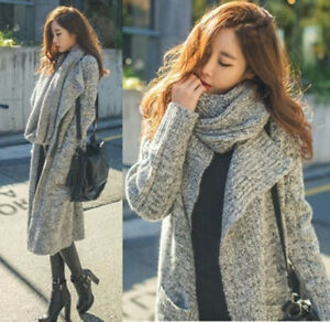 Womens Korean Fashion Knitted Scarf Long Cardigan Outwear Casual Jumpers Sweater