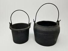 Set of 2 Antique Primitive Smaller Cast Iron Pots with Handles for Fire