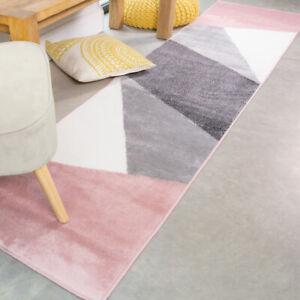Grey & Pink Geometric Runners Rug Scandi Living Room Rugs Long Hallway Runner