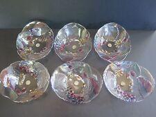 6 NEW  RETRO SOGA JAPAN FRUIT DECORATED GLASS SWEET BOWL