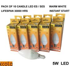 PACK OF 10 X 5W  LED E14 SES Candle  Chandelier Tip  WARM WHITE
