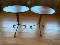 1950s Midcentury Modern Teak Tripod Side tables Albert Larrson Sweden