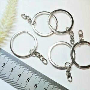 Schlüsselring 50x30mm * 5 Stück * platinfarben GLATT mit Kette Schlüsselanhänger