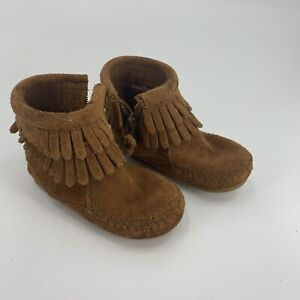 Minnetonka Moccasin Boots Brown Suede Leather Side Zip Infant Toddler Size 4