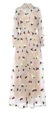 Paul & Joe Silk Floral Embroidered Long Sleeved Ivory Maxi Shirt Dress. Medium