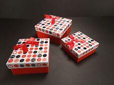Forma quadrata rossa design Decorativo Regalo di Natale Storage Ciondolo Box Set di 3