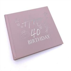 40th Birthday Gift For Her Pink Photo Album With Silver Present Script