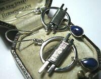 Vintage Modernist Style Unusual Sterling Silver Lapis Lazuli Gem Stone EARRINGS