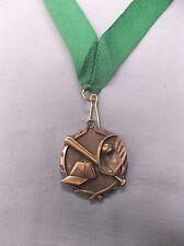 Gold Baseball medal green neck drape trophy