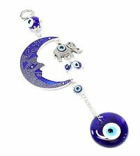 Blue Evil Eye Moon & Elephant Amulet Protection Wall Hanging Decor Blessing Gift