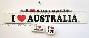 1x Australian Souvenir Ruler Pencil Eraser Sharpener - White 'I Love Australia'