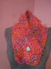 Scarf Cowl Boston Harbor Girls Hot Pink Confetti Streamers Gold Star Button New