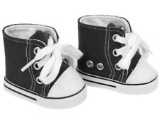 "Black Canvas High Top Sneakers Shoes fit 18"" American Girl Size Doll"