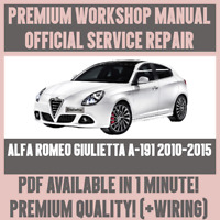ITALIAN WORKSHOP MANUAL SERVICE & REPAIR ALFA ROMEO GIULIETTA A-191 2010-2015
