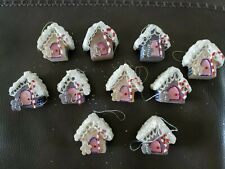 Lot of 10 Gingerbread House Ornaments Christmas Tree Decoration Handmade