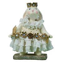 Heather Myers Easter Bunny Daisy Floral White Rabbit Retro Vntg Decor Figurine