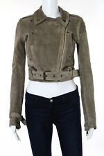 Burberry Prorsum Pale Barley Perforates Suede Long Cropped Bike Jacket Size XS