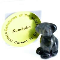 Kambaba Jasper Gemstone Tiny Miniature Puppy Dog Figurine Hand Carved in China